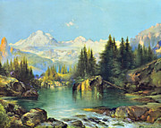 Thomas Moran Prints - View of the Rocky Mountains Print by Susan Leggett