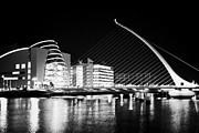 Quay Wall Framed Prints - View Of The Samuel Beckett Bridge Over The River Liffey And The Convention Centre Dublin At Night Du Framed Print by Joe Fox