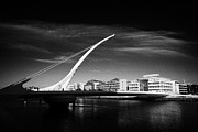 Quay Wall Framed Prints - View Of The Samuel Beckett Bridge Over The River Liffey Dublin Republic Of Ireland Framed Print by Joe Fox