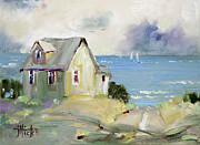 Shack Painting Posters - View of the Sea Poster by Joyce Hicks
