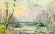 Reflection Of Trees Paintings - View of the Seine Paris by Albert Charles Lebourg