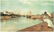 Lorient Framed Prints - View of the Small Harbor of Lorient Framed Print by Berthe Morisot