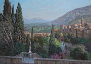 Villa Paintings - View of Tivoli from the terrace of Villa dEste by Korobkin Anatoly