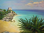 Robie Benve Prints - View of Tulum Print by Robie Benve