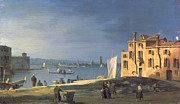 Gondolas Paintings - View of Venice by Canaletto