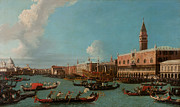 Gondolier Painting Prints - View of Venice with the Doge Palace and the Salute Print by Canaletto