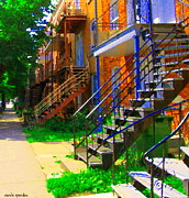 Montreal Memories. Metal Prints - View Of Verdun Steps Stairs Staircases Winding Through Summer  Montrealstreet Scenes Carole Spandau Metal Print by Carole Spandau