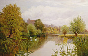 Swans... Painting Posters - View of Windsor from the Thames Poster by John Atkinson