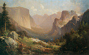 Yosemite Painting Framed Prints - View Of Yosemite Valley Framed Print by Thomas Hill