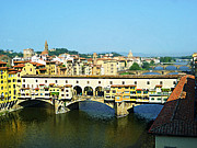 Watercolor Map Photos - View On Ponte Vecchio From Uffizi Gallery by Irina Sztukowski