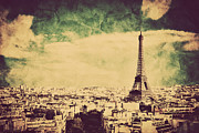 Rooftop Photos - View on the Eiffel Tower and Paris France Retro vintage style by Michal Bednarek