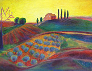 Robie Benve Prints - View on the Olive Grove Print by Robie Benve