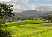 Challenging Prints - View over fields to Ambleside Lake District Print by Steve Heap