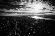 Manhatan Posters - View Over Lower Manhattan At Sunset New York City Usa Poster by Joe Fox