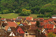 Alsace Framed Prints - View Over Riquewihr in Alsace France Framed Print by Greg Matchick