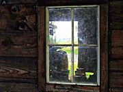 Split Rail Fence Prints - View Through A Barn Window Print by Marcia Lee Jones