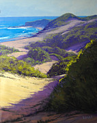 Sand Dunes Painting Framed Prints - View to Soldiers Beach Framed Print by Graham Gercken