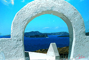 Paint Photograph Mixed Media Prints - View to Thirasia Island from Santorini Island Greece Print by Colette V Hera  Guggenheim