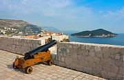 Old City Tower Posters - View toward old town Dubrovnik and island Lokrum Poster by Kiril Stanchev
