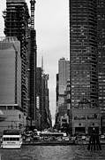 Manhatan Photo Prints - View Up West 42nd Street From The Hudson River New York City Print by Joe Fox