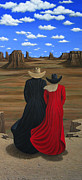 Contemporary Cowgirl Paintings - View West by Lance Headlee