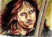 Aragorn Framed Prints - Viggo Mortensen Aragorn Framed Print by Joane Severin