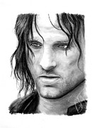 Lord Of The Rings Drawings Posters - Viggo Mortensen Poster by Rosalinda Markle