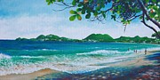 Caribbean Sea Paintings - Vigie Beach - St. Lucia by Christopher Cox