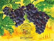 Blue Grapes Painting Posters - Vigne De Raisins Poster by Debbie DeWitt