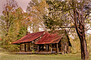 Log Cabins Prints - Viintage Cabin Print by Debra and Dave Vanderlaan