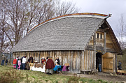 Historical Reenactments Photos - Viking Longhouse Replica  by La di  Kirn