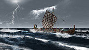 Sweeps Digital Art - Viking Longship in a Storm by Fairy Fantasies