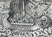 Medieval Drawings Framed Prints - Viking Ship Framed Print by German School
