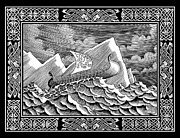 Celts Drawings Posters - Viking Ship Poster by Guy Radcliffe