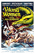 Vintage Memorabilia Prints - Viking Women and the Sea Serpent Poster Print by Sanely Great