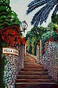 Steps Painting Originals - Villa Lidia by Nancy Bradley