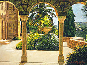 Gardenscapes Painting Framed Prints - Villa on the Riviera Framed Print by David Lloyd Glover