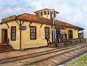 Small Towns Painting Metal Prints - Villa Rica Ga Original Depot Metal Print by Sally Storey Jones