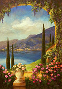 Lake Paintings - Villa Rosa by Evie Cook