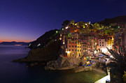 North Italian Town Framed Prints - Village At Night On Sea Side Framed Print by Ioan Panaite