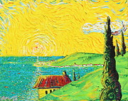 Sun Rays Painting Posters - Village By The Sea Poster by Stefan Duncan