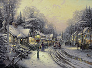 Lights Painting Posters - Village Christmas Poster by Thomas Kinkade