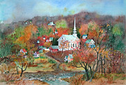New England Village  Paintings - Village Church by Sherri Crabtree