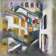 Becky Kim Artist Painting Metal Prints - Village Corner Metal Print by Becky Kim