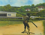 Bat Boy Paintings - Village Cricket by Kenneth Harris