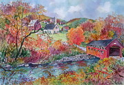 Covered Bridge Paintings - Village Crossing by Sherri Crabtree