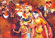 Merry-go-round Painting Originals - Village fair  by Sajila Garg