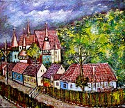 Romania Paintings - Village from Transylvania by Ion vincent DAnu