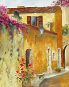 Provence Village Painting Prints - Village in Provence Print by Chris Brandley