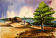 Shakhenabat Kasana Paintings - Village Landscape of Bangladesh 2 by Shakhenabat Kasana
